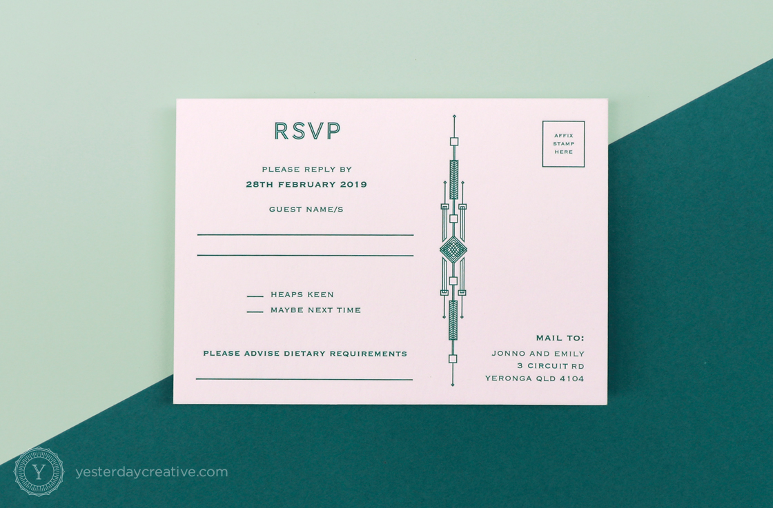 Yesterday Creative Letterpress Canberra Wedding Invitation RSVP Card Art Deco Aviation Plane Aircraft Pattern Kurrajong Hotel Emerald rsvp postcard
