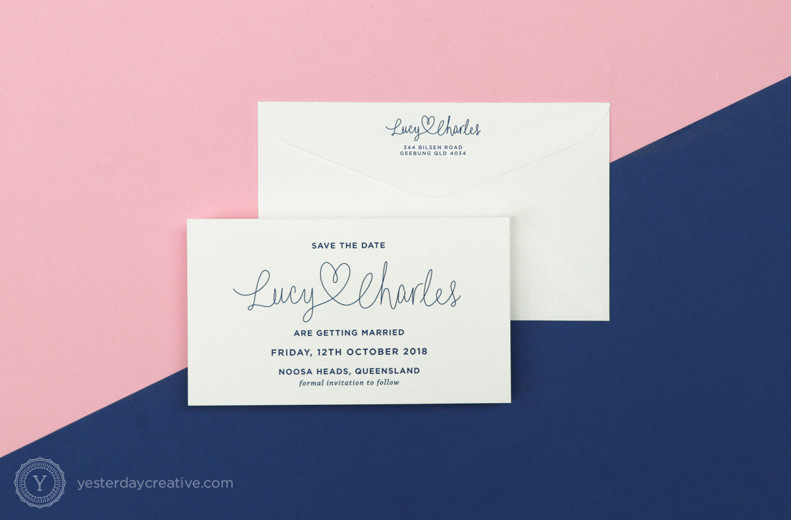 Yesterday Creative Wedding Stationery Invitation Save the Dates Digital Beach Coastal Heart Script Noosa Navy White Custom Envelopes