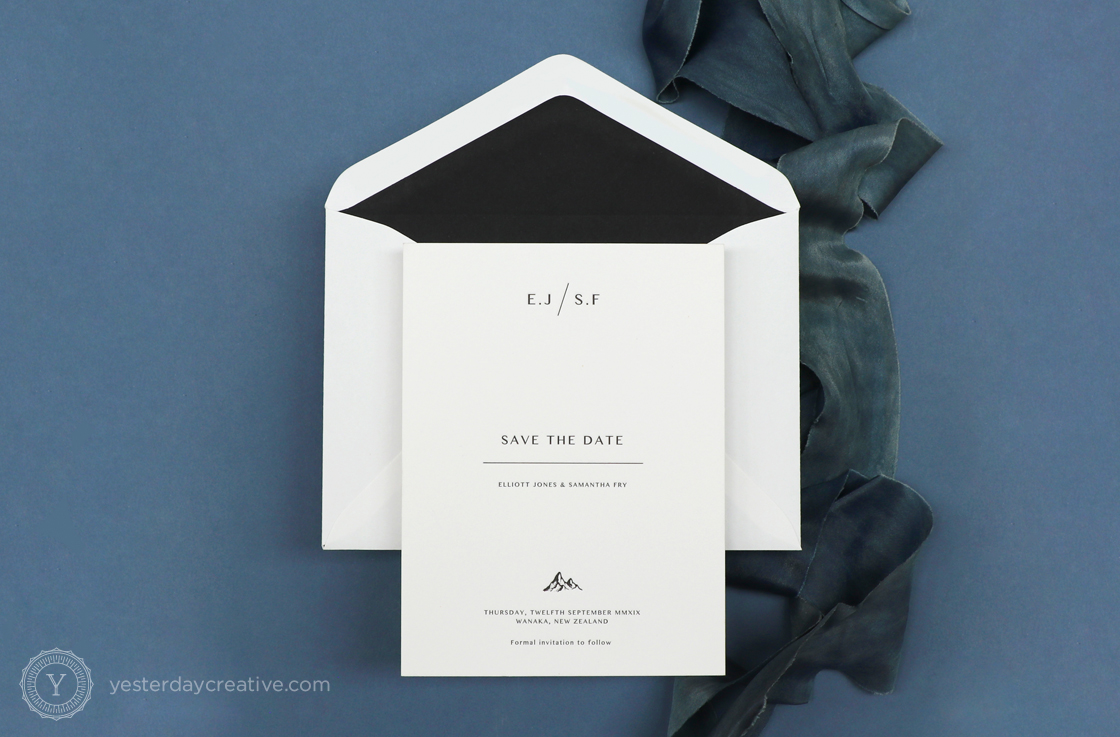 Yesterday Creative Wedding Stationery Invitation Save the Dates Letterpress Modern Minimal New Zealand Mountains Spring Illustration Black White