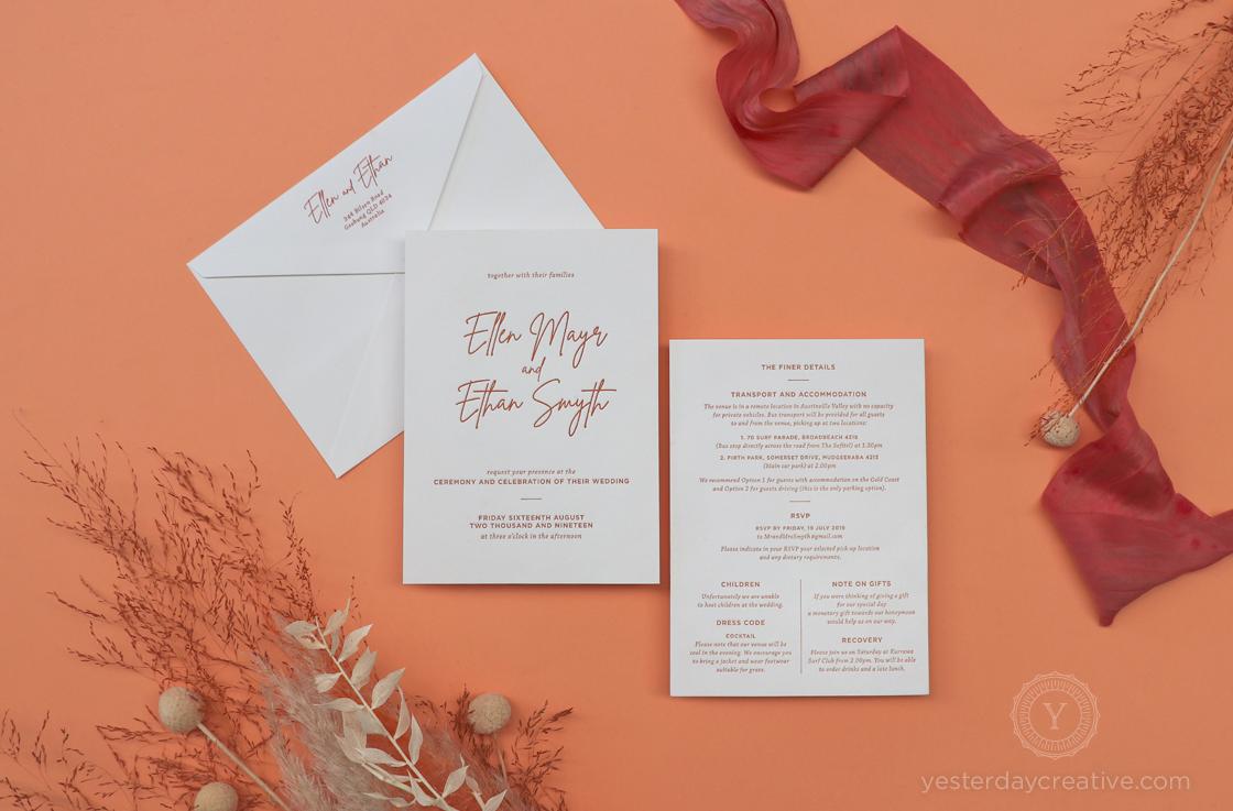 Yesterday Creative Letterpress Letterpress Monoline Script Rust Clay Rustic Hinterland Dried Florals