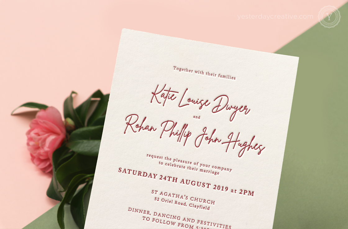 Yesterday Creative Letterpress Digital Print Wedding Brisbane Racing Club Florals Traditional Impression