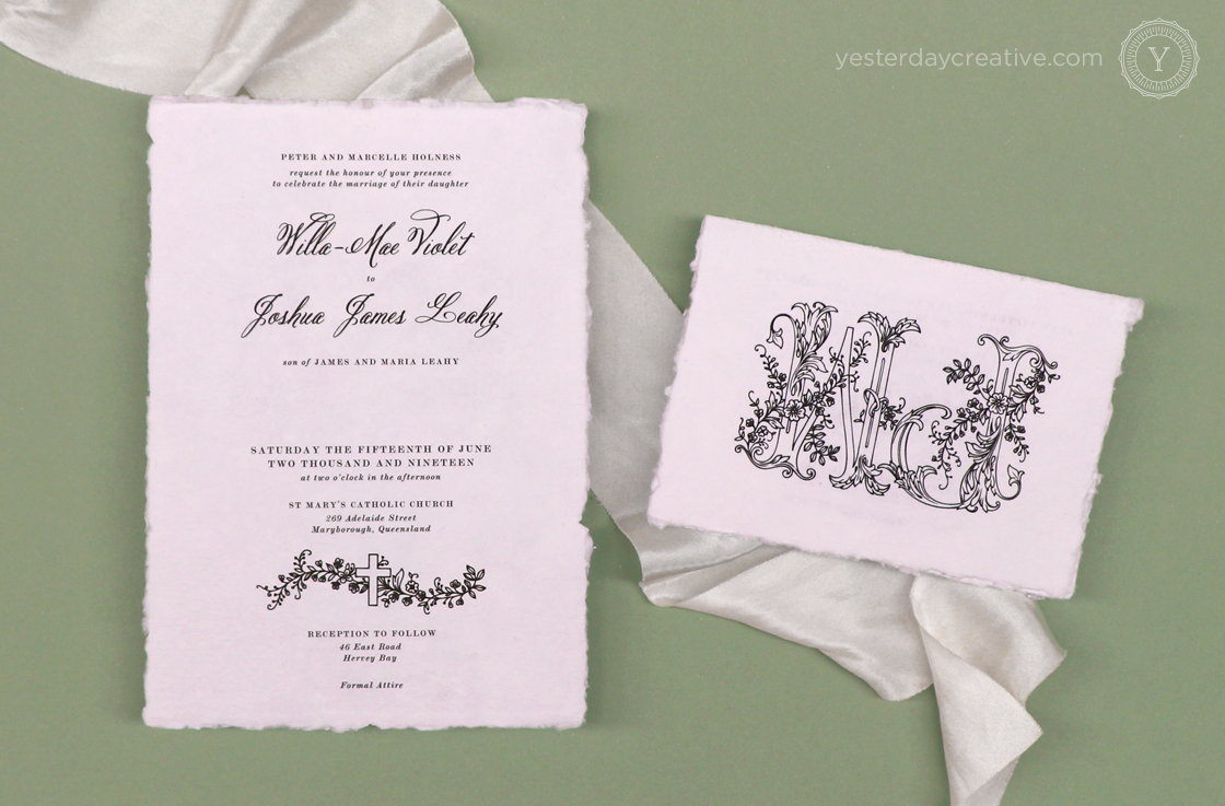 Yesterday Creative Letterpress Digital Print Wedding Deckled Edge Handmade Feather and Stone Tattoo Line Drawing Illustration