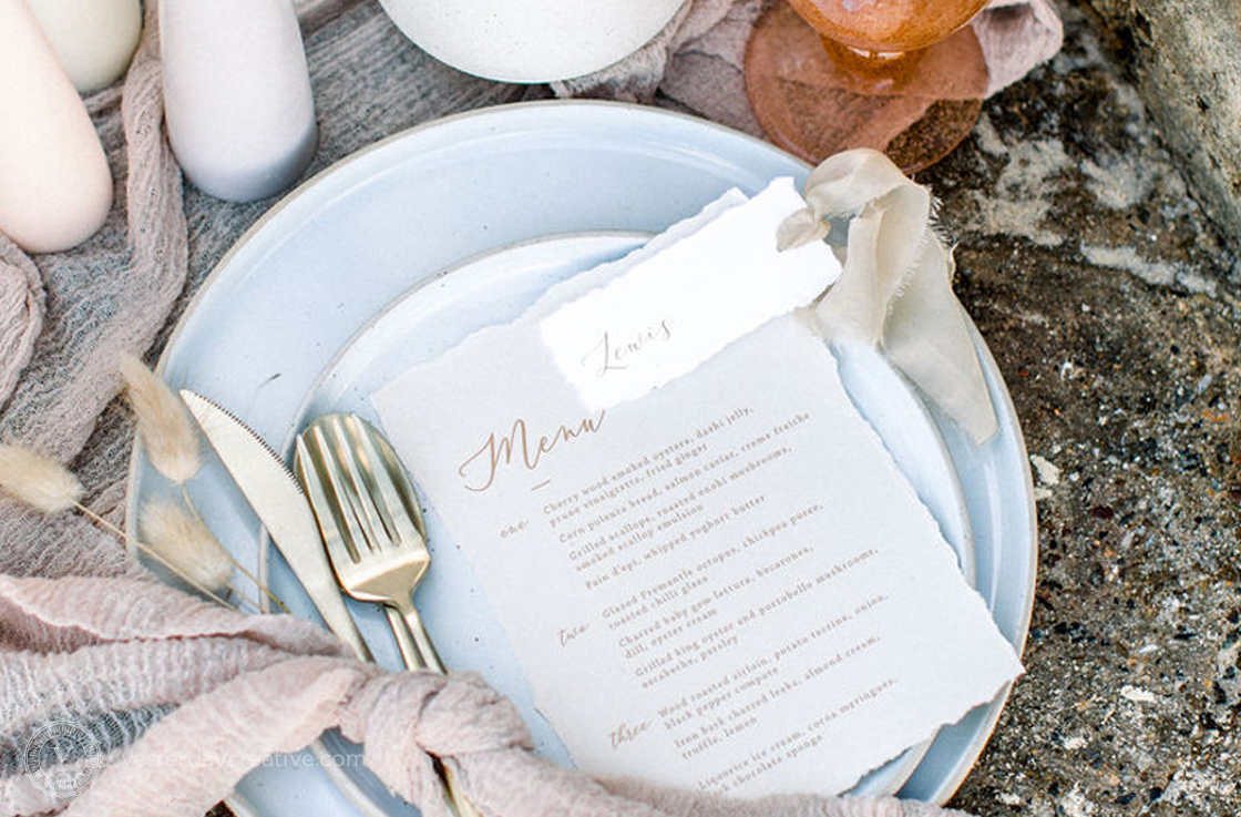 Yesterday Creative Reception Stationery Menus Placecards Beach Ocean Elopement Wedding Tablesetting Tablescape Deckled Edge Detail