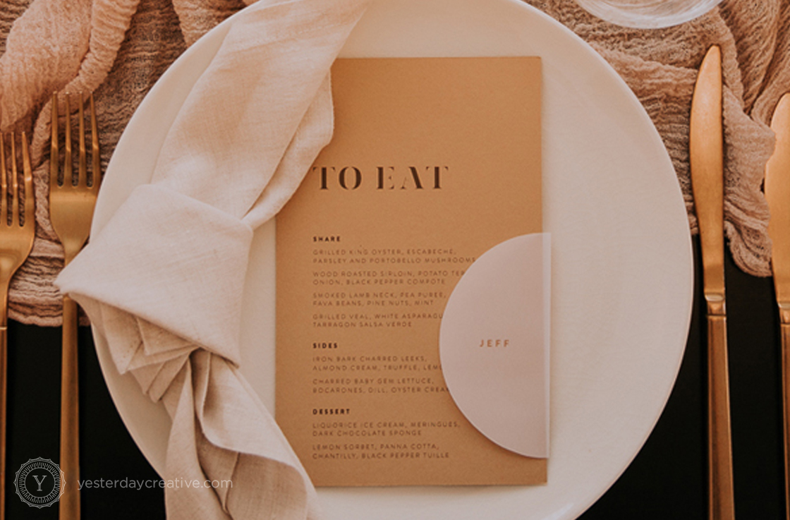Yesterday Creative Reception Stationery Menus Placecards Beux Rumble Tablesetting Tablescape Modern Design Detail