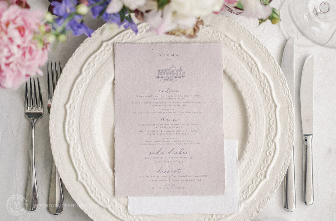 Yesterday Creative Reception Stationery Menus Placecards The Calile Arch Custom Shape Pink Tablesetting Tablescape Modern James Street Palm Springs Detail