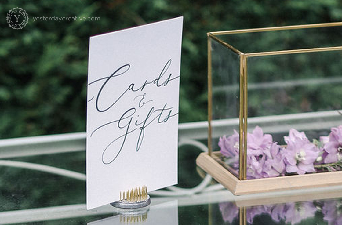 Yesterday Creative Reception Stationery Wishing Well Gifts Cards Signage Hopewood House Bowral Garden Script