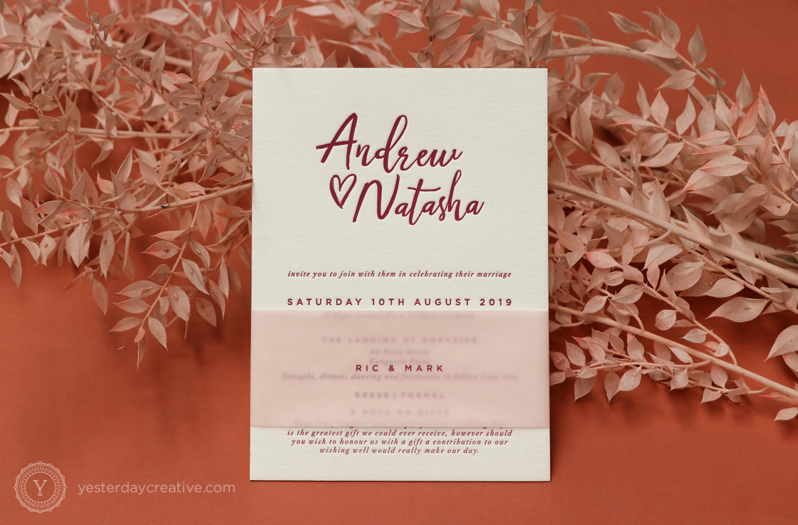 Yesterday Creative Reception Stationery Burgundy Pink Translucent Bellyband Brush Script Letterpress
