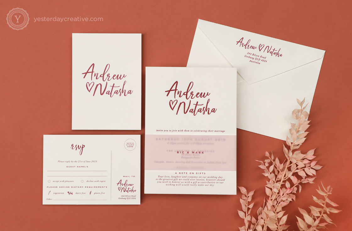 Yesterday Creative Reception Stationery Burgundy Pink Translucent Bellyband Brush Script