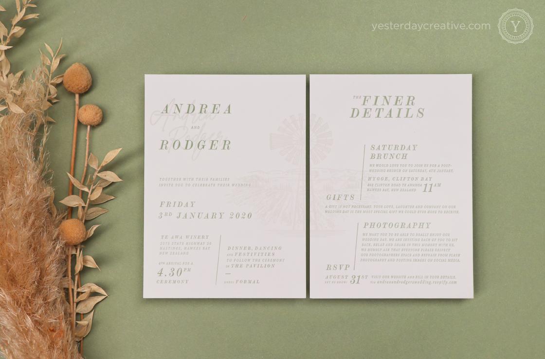 Yesterday Creative Letterpress Wedding New Zealand Winery Windmill Destination Sage Green Illustration Details