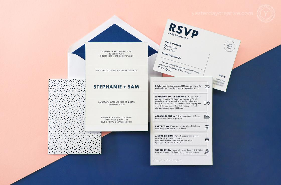 Yesterday Creative Letterpress Digital Print Wedding Dalby Polka Dot Fun Navy Envelope RSVP Details Card Impression BLind Emboss Modern Icons