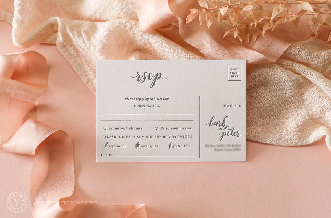 Yesterday Creative Letterpress Invitation Suite RSVP Card Blind Impress Black letterpress script New Zealand Destination Names Postcard Personalised