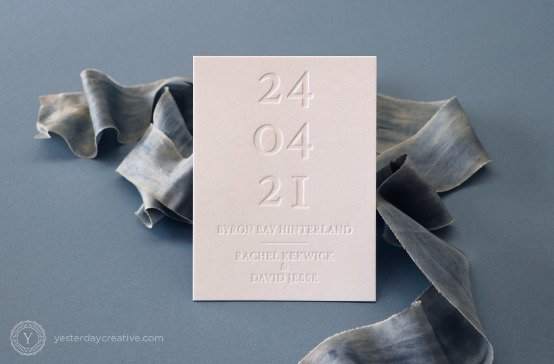 Yesterday Creative Letterpress Save the Date Minimal Modern Blin Impression Byron Bay Wedding