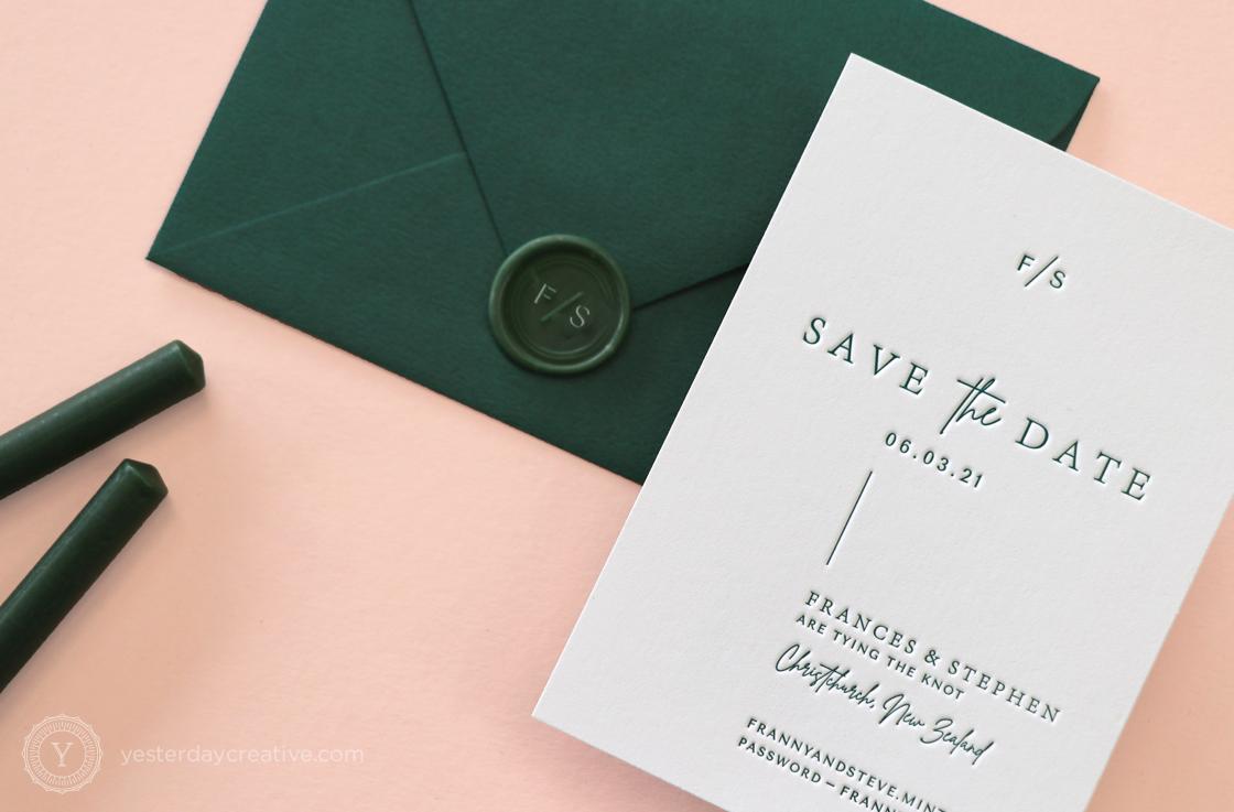 Yesterday Creative Letterpress Save the Date New Zealand Green Ink Modern Minimal Destination Wax Seal Stamp
