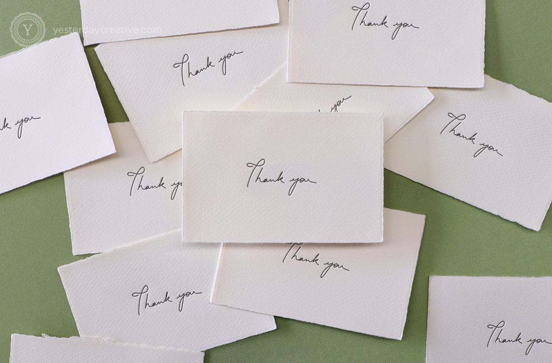 Yesterday Creative Letterpress Thank You Cards Mediovalis Paper Notecards Gift