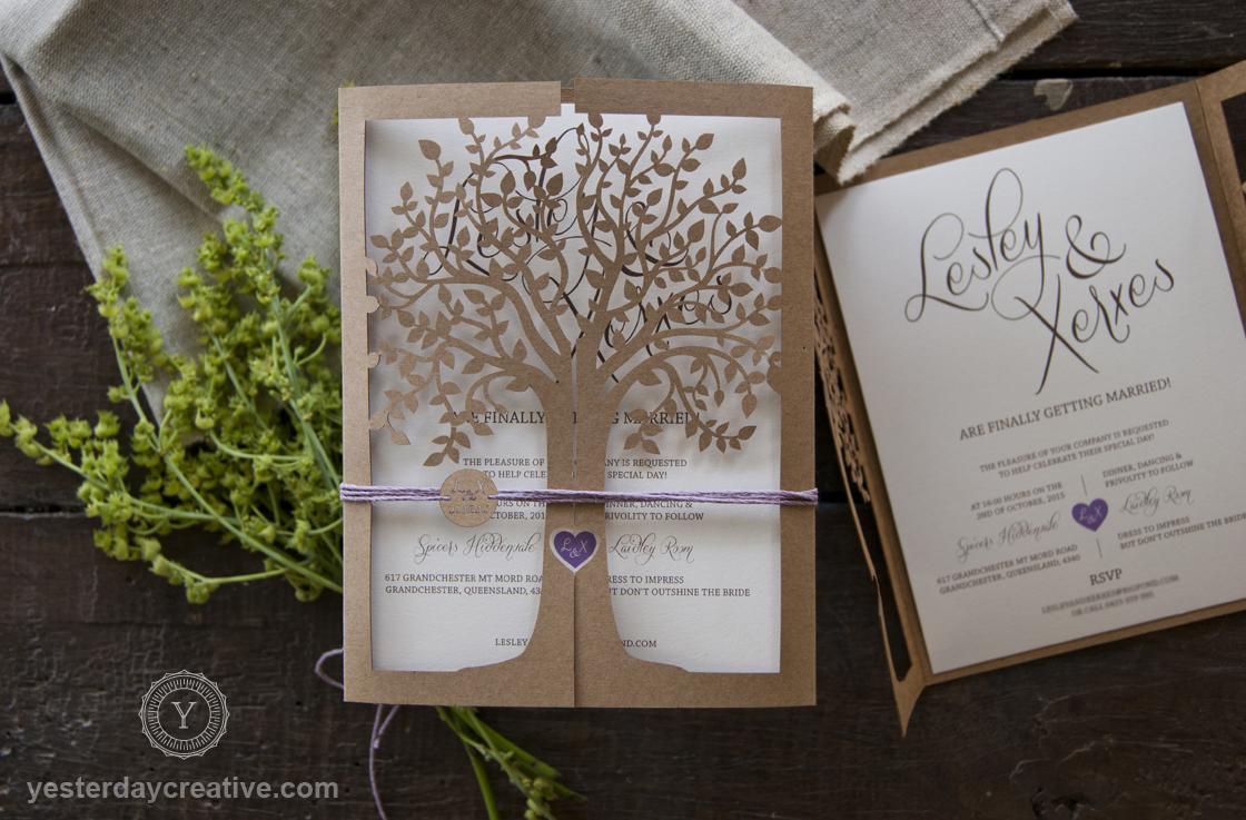 Lasercut Tree Kraft Wedding Invitation