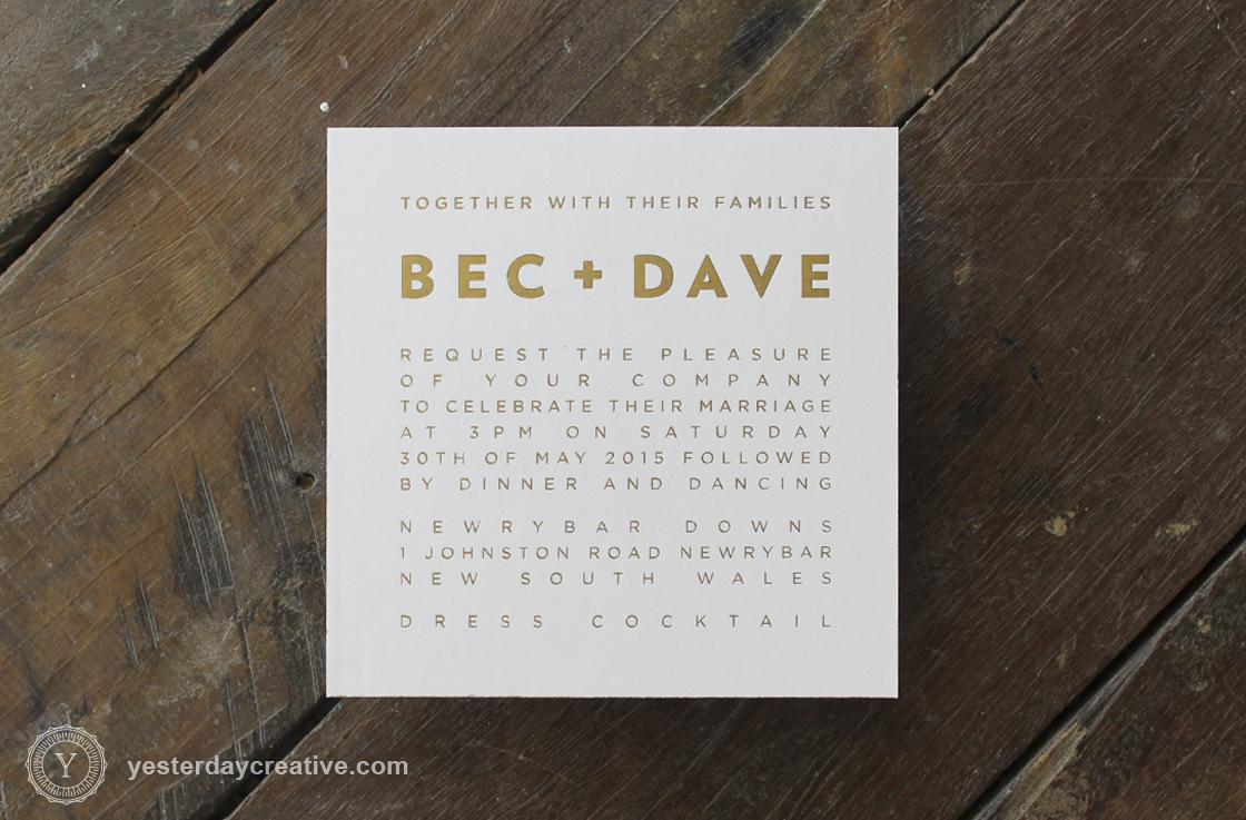 Gold Foil 600gsm Letterpress Invitation with Custom Grey Edge Paint