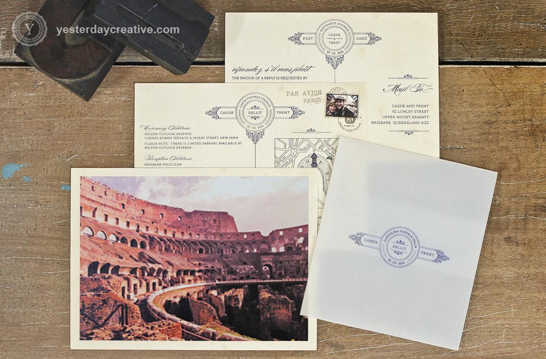 Cassie and Trent Destination Wedding Invitations Vintage Postcard
