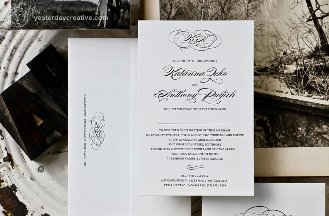 Katarina and Anthony's Classic Letterpress Wedding Invitation
