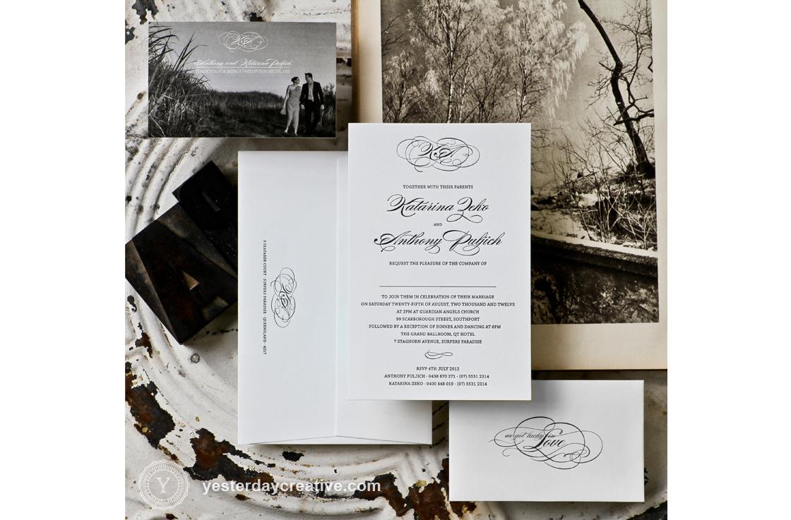 Katarina and Anthony Classic Flourish Letterpress Black and White Monogram Wedding Invitation