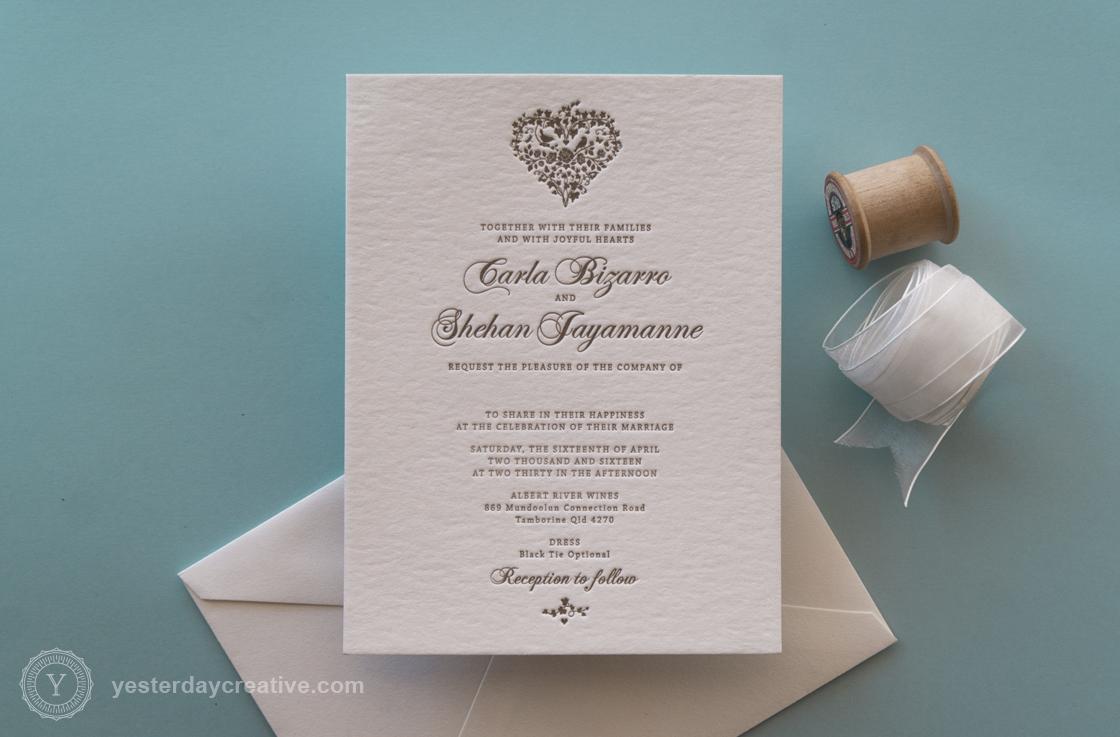 Yesterday Creative Custom Letterpress Calligraphy Heart Wedding Invitation