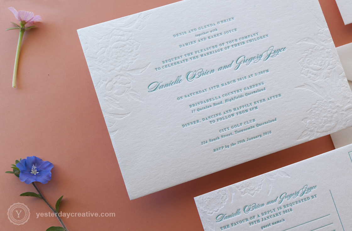 Yesterday Creative Letterpress Wedding Invitation suite, 2 Colours, Blind emboss - Floral Invitation detail