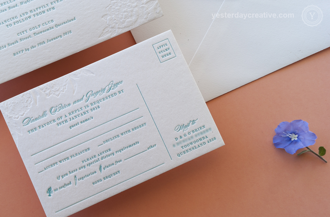 Yesterday Creative Letterpress Wedding Invitation suite 2 Colours RSVP / Reply Card
