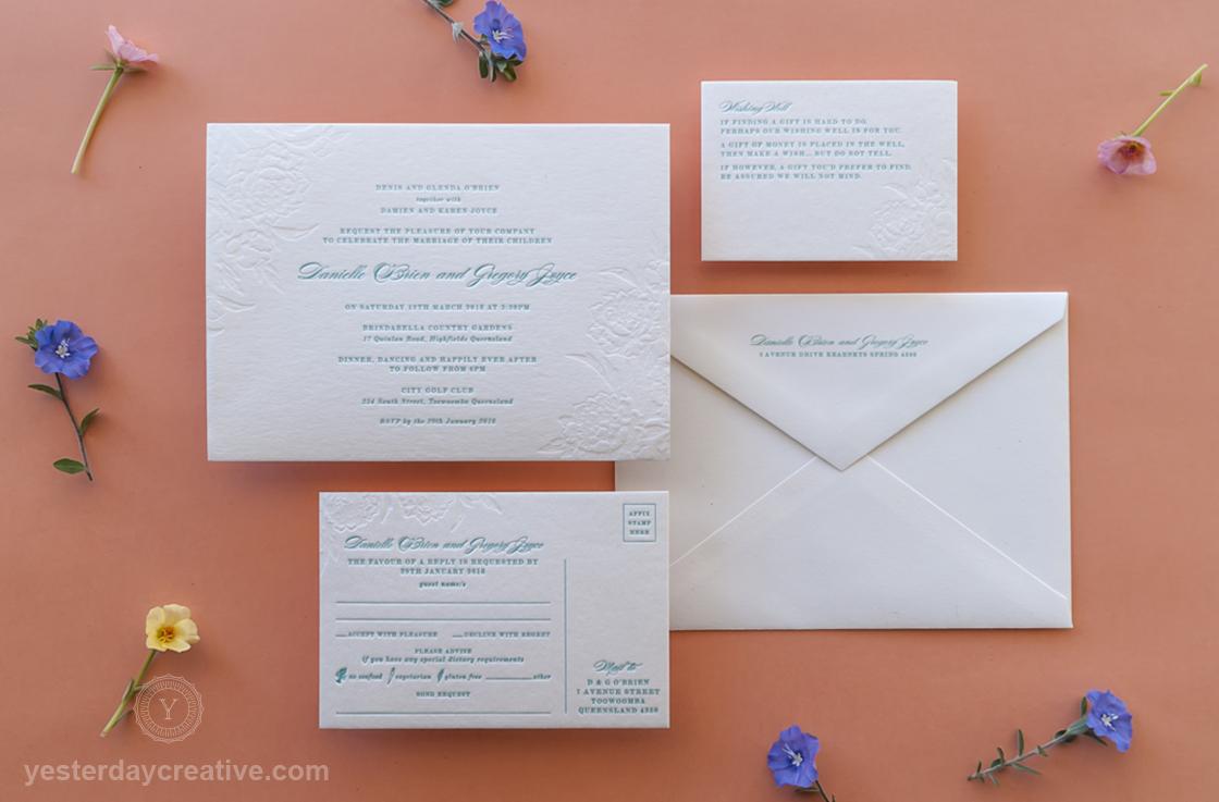 Yesterday Creative Letterpress Wedding Invitation suite 2 Colour Blind emboss