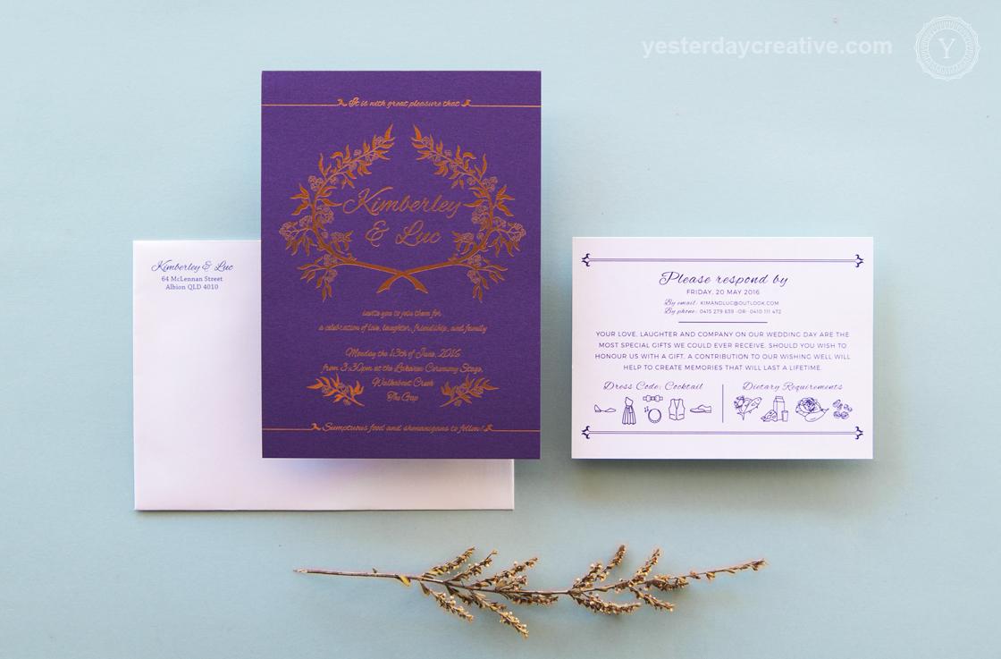 Kimberley & Luc Copper Foil & Purple Custom Wedding Invitation