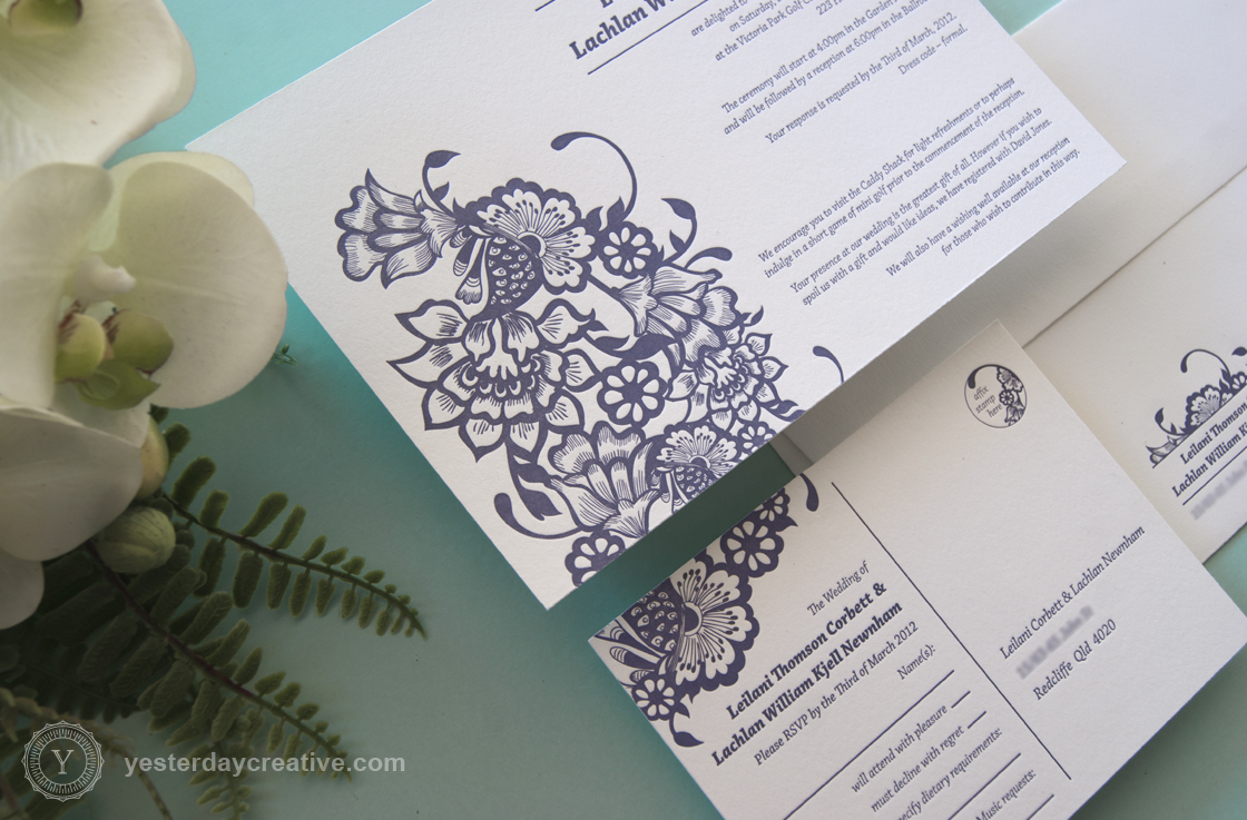 Leilani & Lachlan Modern Floral and Fern Purple Letterpress Wedding Invitation