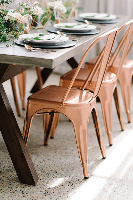 Copper Chairs - Geometric Table Setting - Rose Cutlery - Copper & Gold Wedding Styling Inspiration - Yesterday Creative Letterpress - Blog