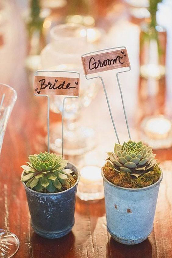 Copper Place Card Ideas_Bride & Groom - Succulent - Copper & Gold Wedding Styling Inspiration - Yesterday Creative Letterpress - Blog