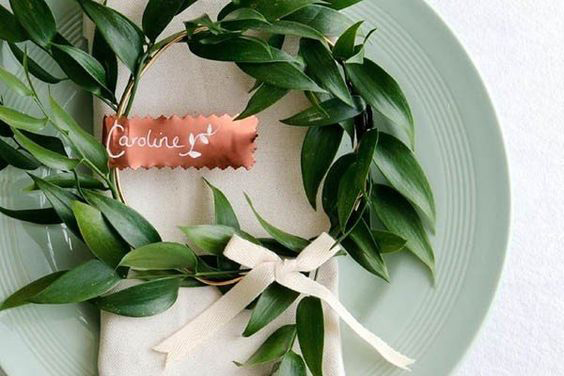 Copper Placecard Tag - Leaf Wreath Bow - Copper & Gold Wedding Styling Inspiration - Yesterday Creative Letterpress - Blog