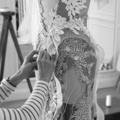 MXM Couture Weddding Dress designer Hand Sewing in studio - Yesterday Creative Letterpress blog