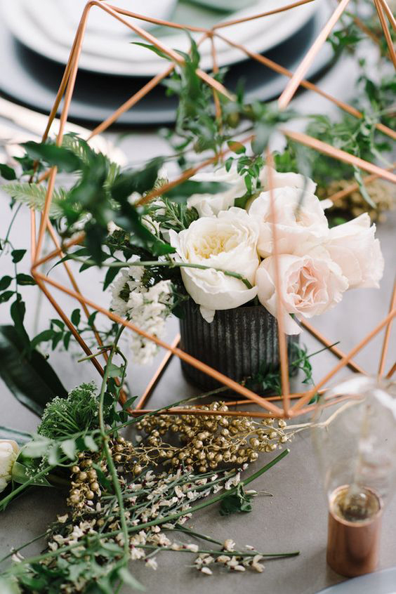 Geometric Rose Floral Table Setting - Copper & Gold Wedding Styling Inspiration - Yesterday Creative Letterpress Blog