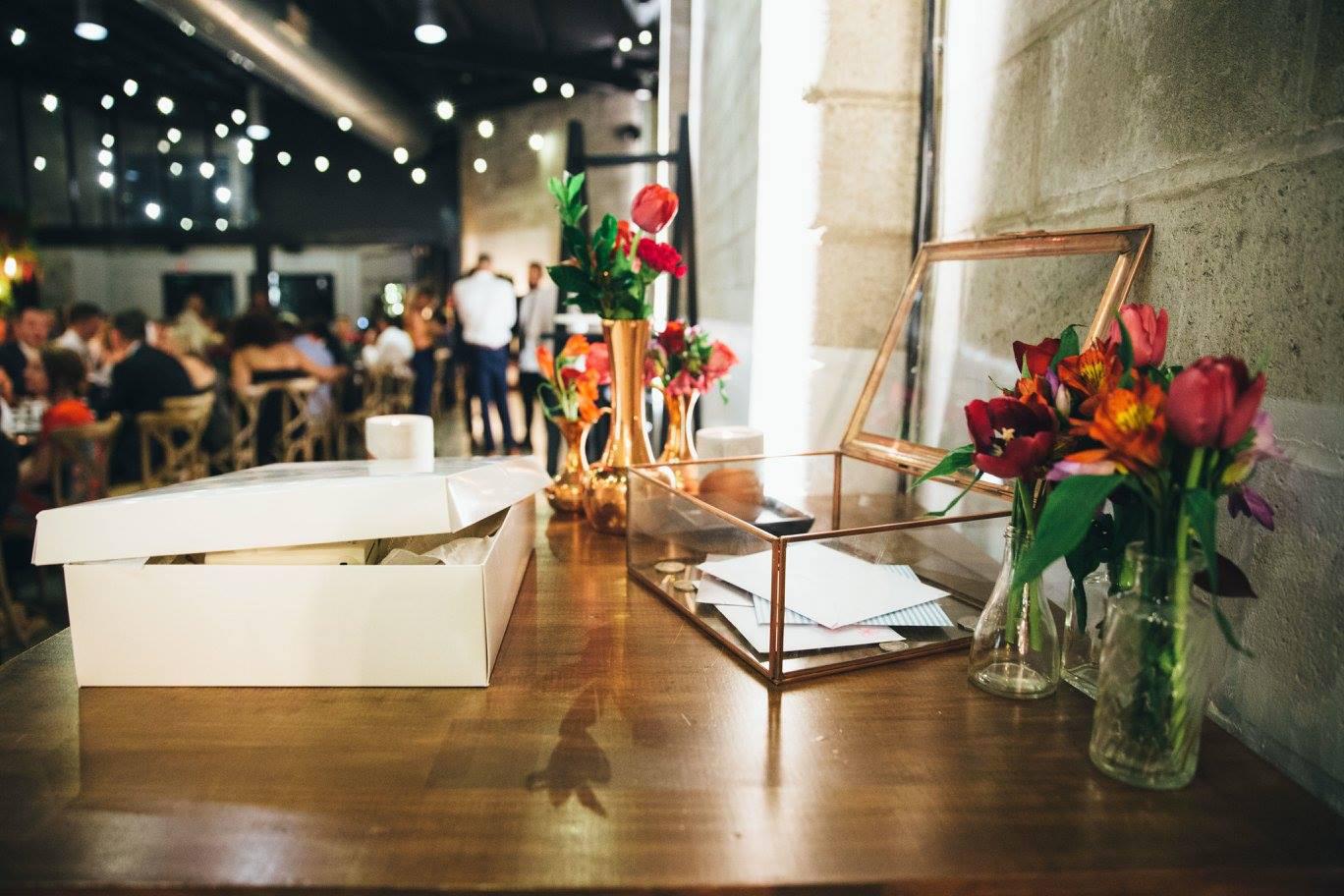 Glass Box Metallic Trim Rose Gold Vases - Copper & Gold Wedding Styling Inspiration - Yesterday Creative Letterpress - Blog