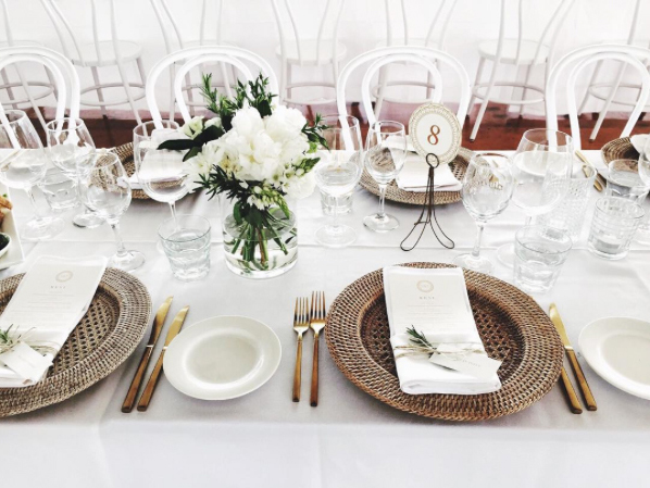Gold Cutlery with Woven Charger Plate Table Setting, Vintage Table Numbers and Menus - Copper & Gold Wedding Styling Inspiration - Yesterday Creative Letterpress Blog