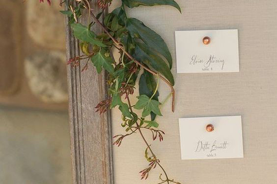 Hand Type - Seating Chart Escort Cards - Pearl Copper & Gold Wedding Styling Inspiration - Yesterday Creative Letterpress - Blog