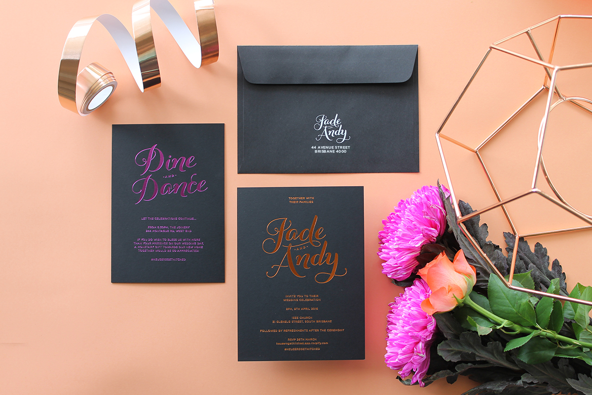 Jade & Andy Foiled Invitation with Black Cotton Paper Envelope printed in White Ink - Geometric Metallic Copper & Gold Wedding Styling Inspiration - Yesterday Creative Letterpress - Blog