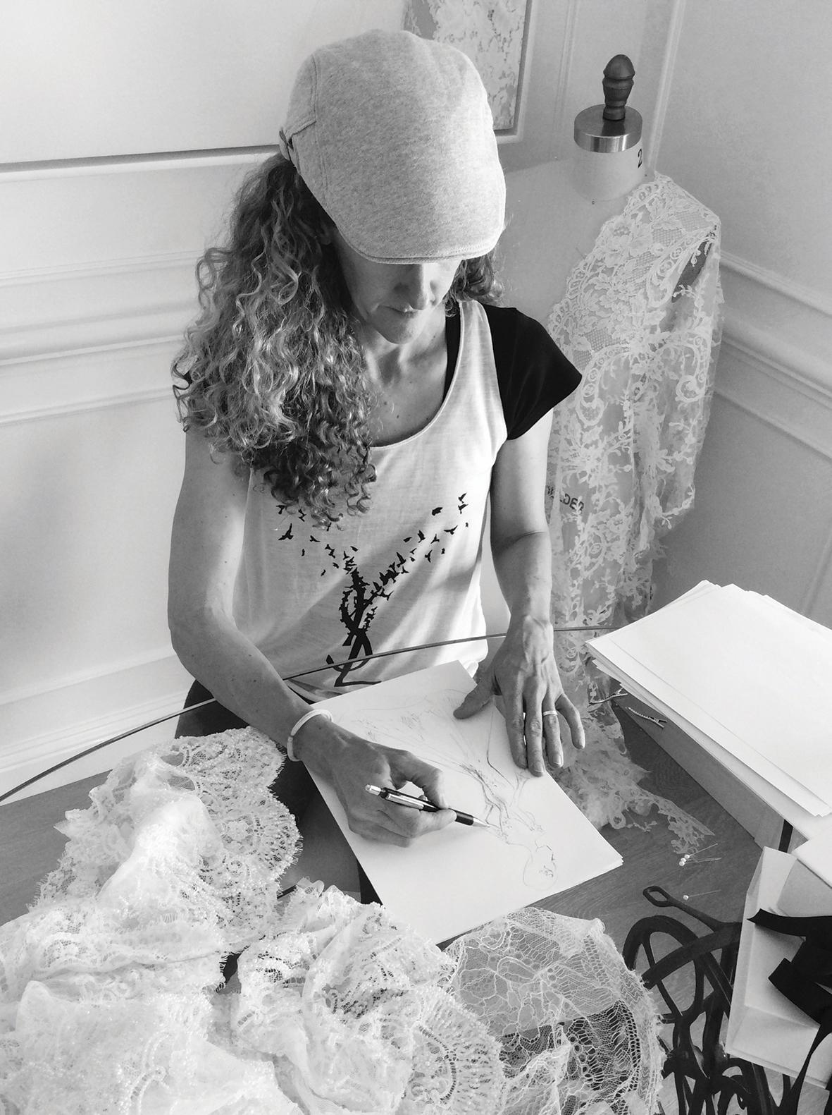 MXMCouture Weddding Dress Hand Drawn Design
