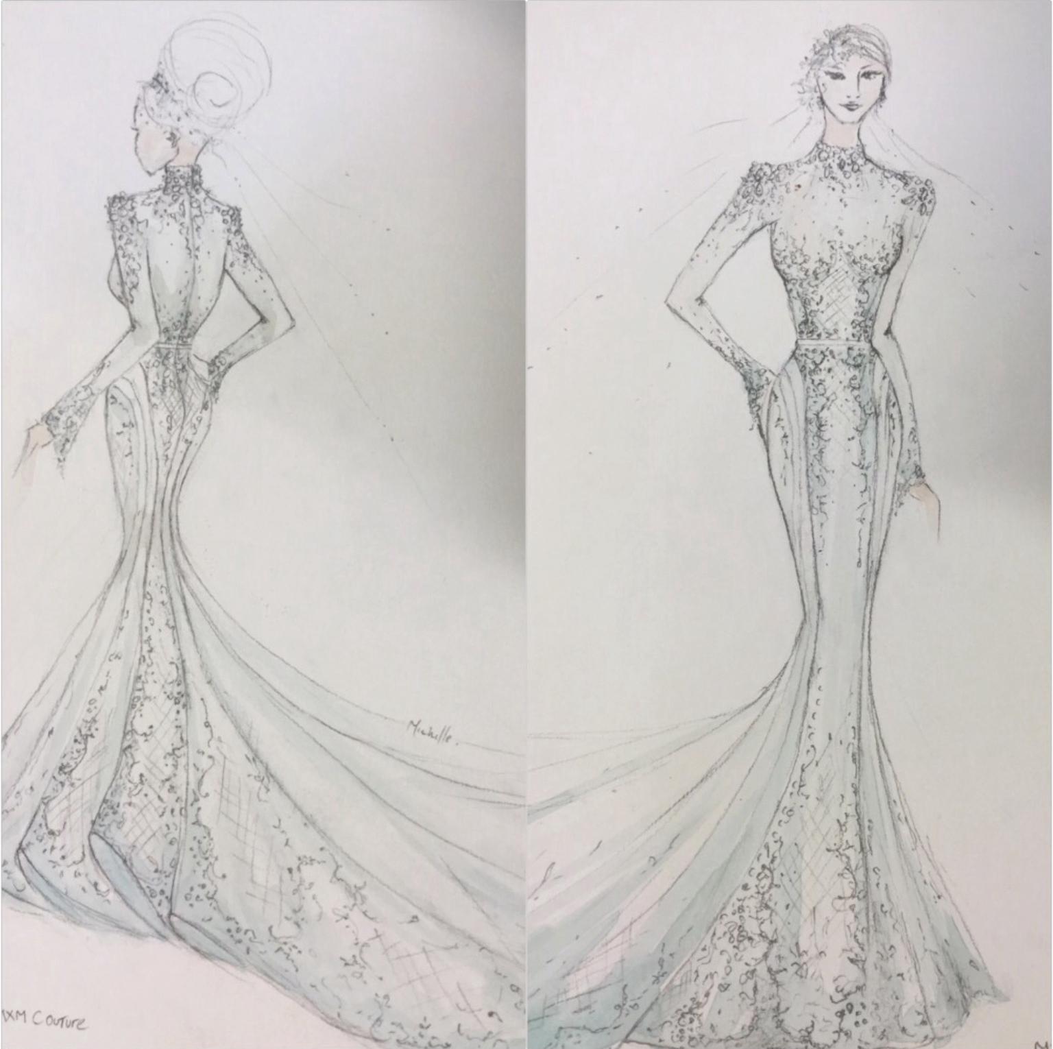 MXM Couture Weddding Dress Studio Hand Drawing