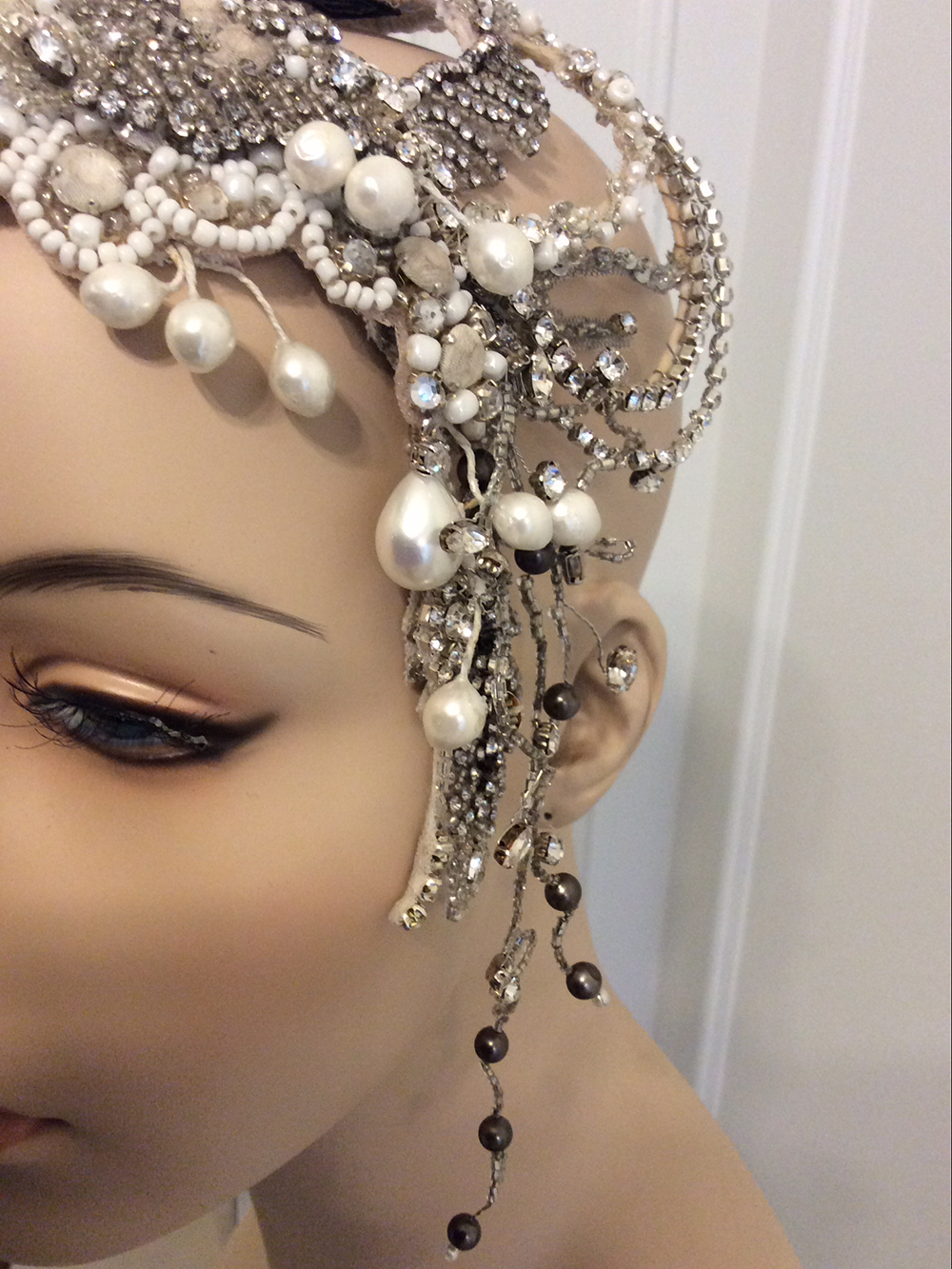 Suzie Rogers for MXM Couture Custom hand made beaded bridal headpiece with pearls Yesterday Creative Letterpress Blog Post