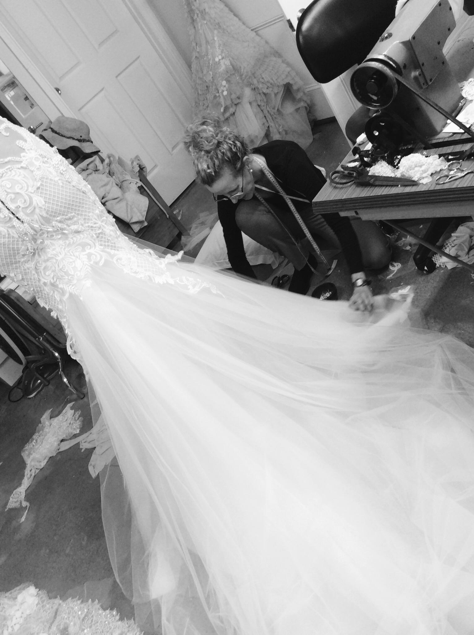 MXM Couture Wedding Dress Designer Sewing in Studio Yesterday Creative Letterpress Blog Post