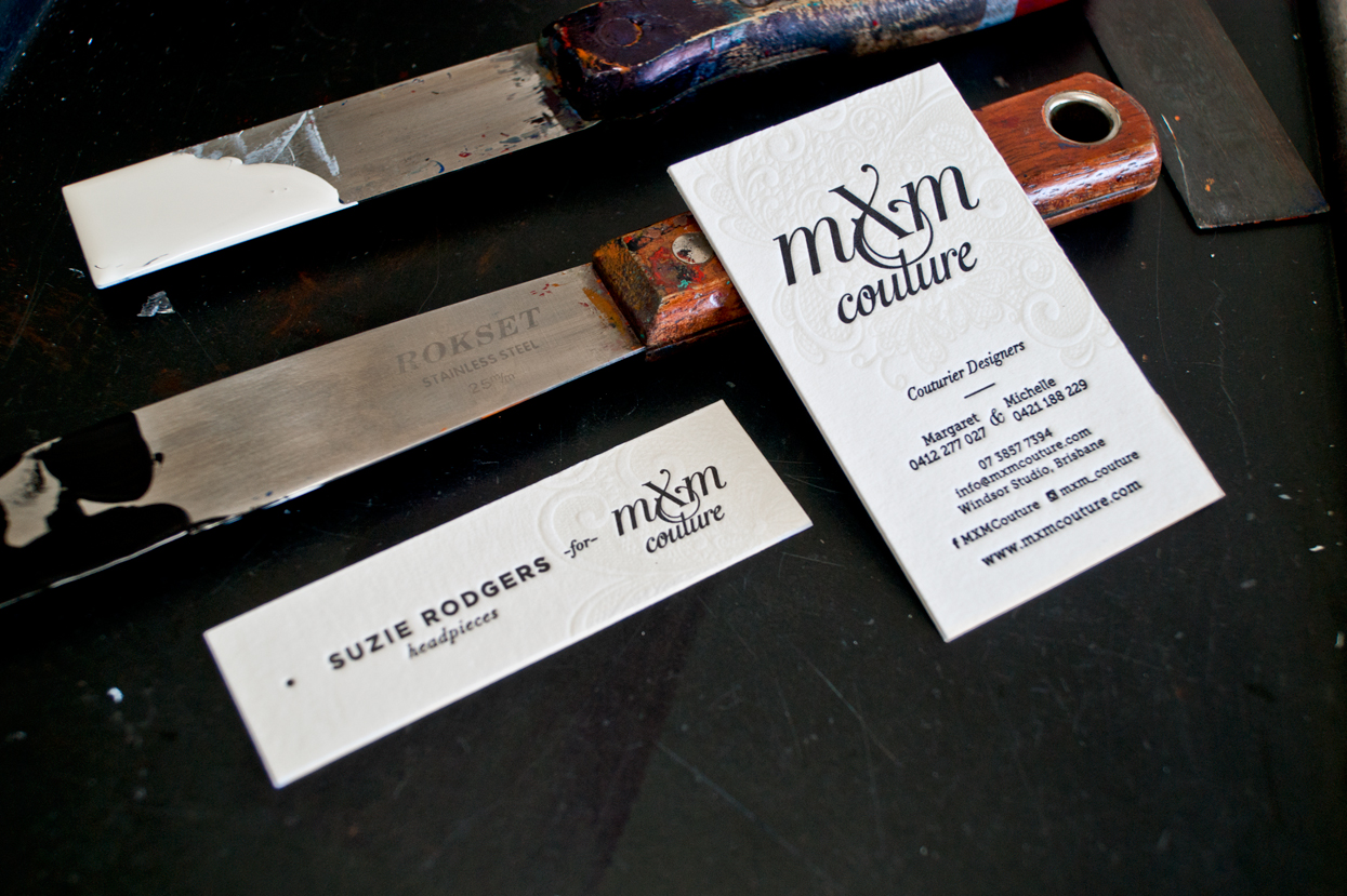 Creative Emporium designed MXM Couture business cards finished on printing press with new branding in Yesterday Creative Letterpress Studio with Suzie Rogers headpieces swing tags