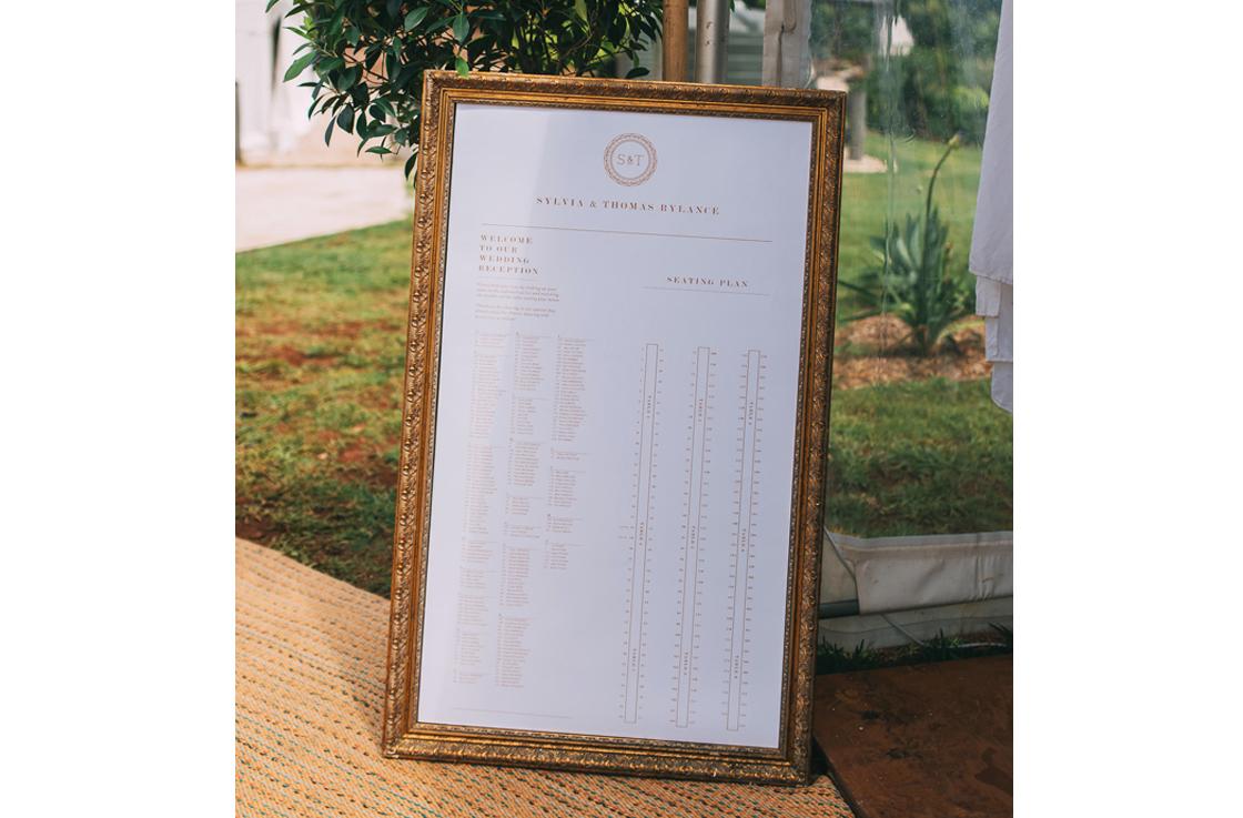 Rylance Wedding Vintage Mongram Seating Chart - Reception Stationery - Copper & Gold Wedding Styling Inspiration - Yesterday Creative Letterpress - Blog
