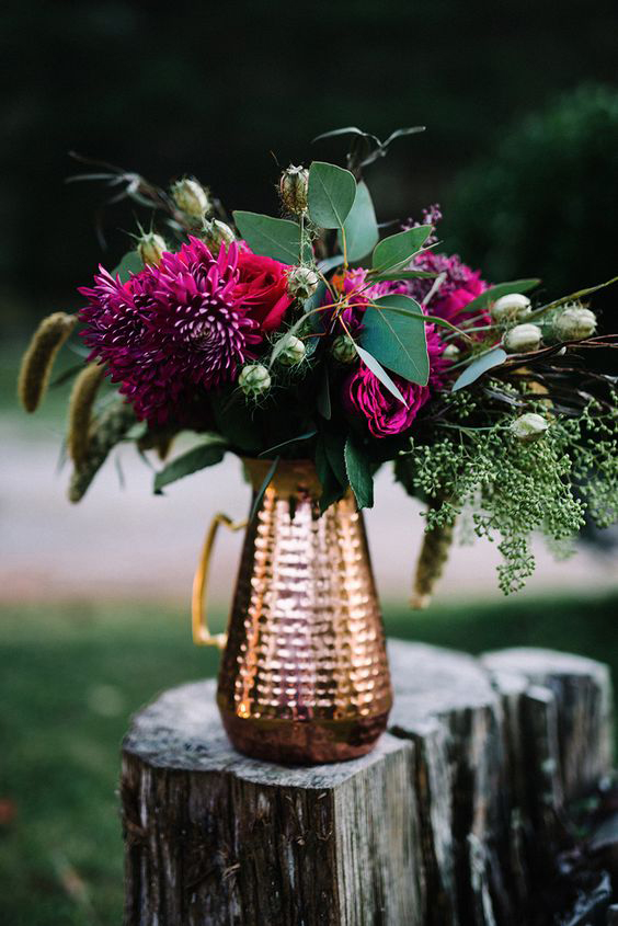 Wedding Copper and Pink Florals Vase - Copper & Gold Wedding Styling Inspiration - Yesterday Creative Letterpress - Blog