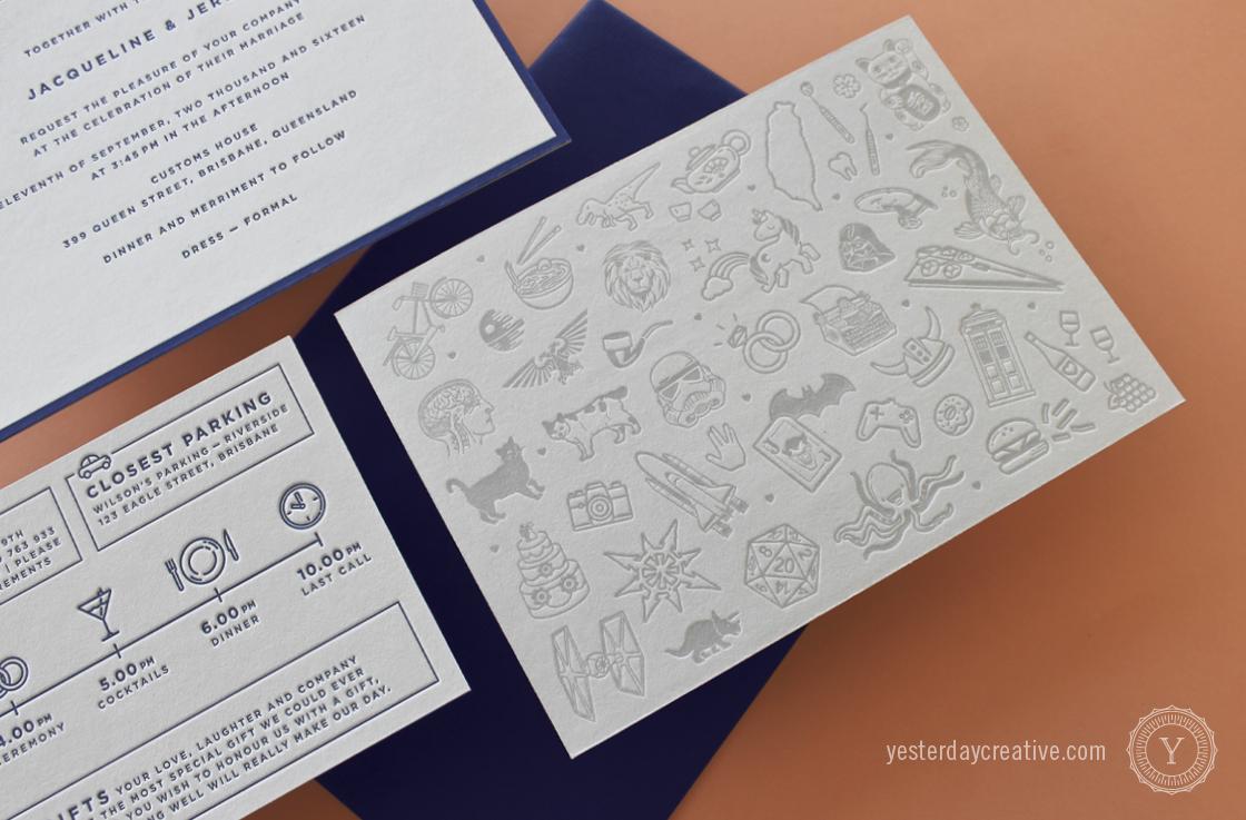 Yesterday Creative Letterpress Wedding Invitation suite - Jacqueline & Jeremy - Modern, Minimal, Grey Navy
