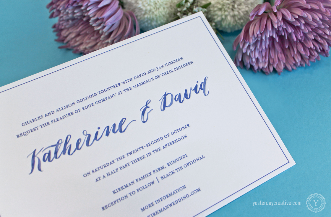 Yesterday Creative Letterpress Wedding Stationery Brisbane, Design & Print - Katherine & David Invitation printed in Royal Blue on white cotton paper with blue watercolour hand script - Detail