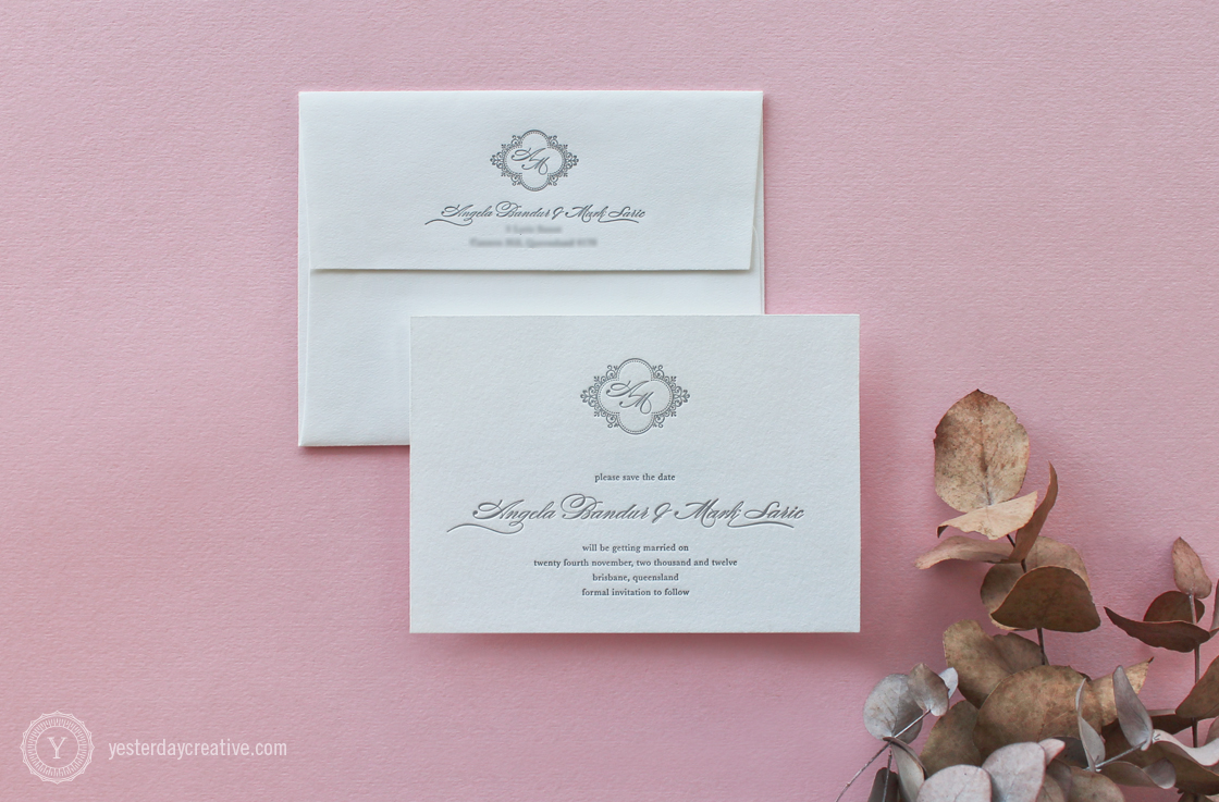 Yesterday Creative Letterpress Wedding Stationery Brisbane -Design & Print - Angela & Mark, Save the Date - classic script typesetting and custom monogram letterpressed in grey ink on white cotton paper with matching white cotton envelope.