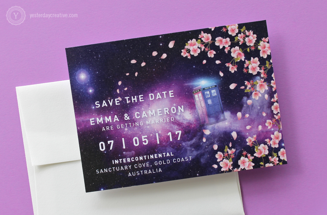 Yesterday Creative Letterpress Brisbane -Design & Print - Wedding & Event Stationery - Emma & Cameron - Save the Date card, digitally printed Doctor Who themed custom design featuring pink cherry blossoms and the Tardis with a galaxy background and white typesetting - detail.