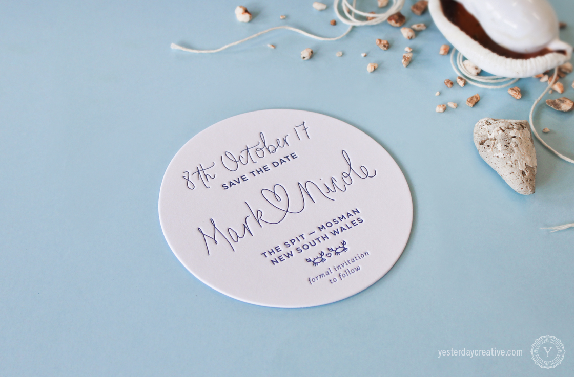 Yesterday Creative Letterpress Wedding Stationery Brisbane -Design & Print - Mark & Nicole's heart script & custom seaside themed Save The Date Coasters printed in Navy Blue.